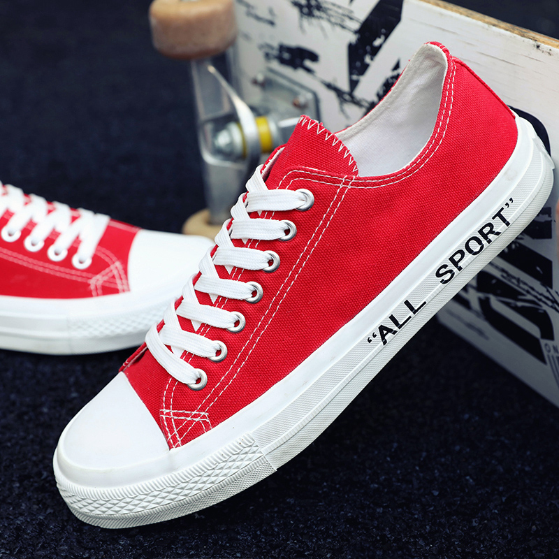 Classic Men Vulcanized Canvas Fashion Shoes Hard-Wearing Youth Fashion Men Shoes Red Blue Mens Flat Canvas Sneakers Casual Shoes