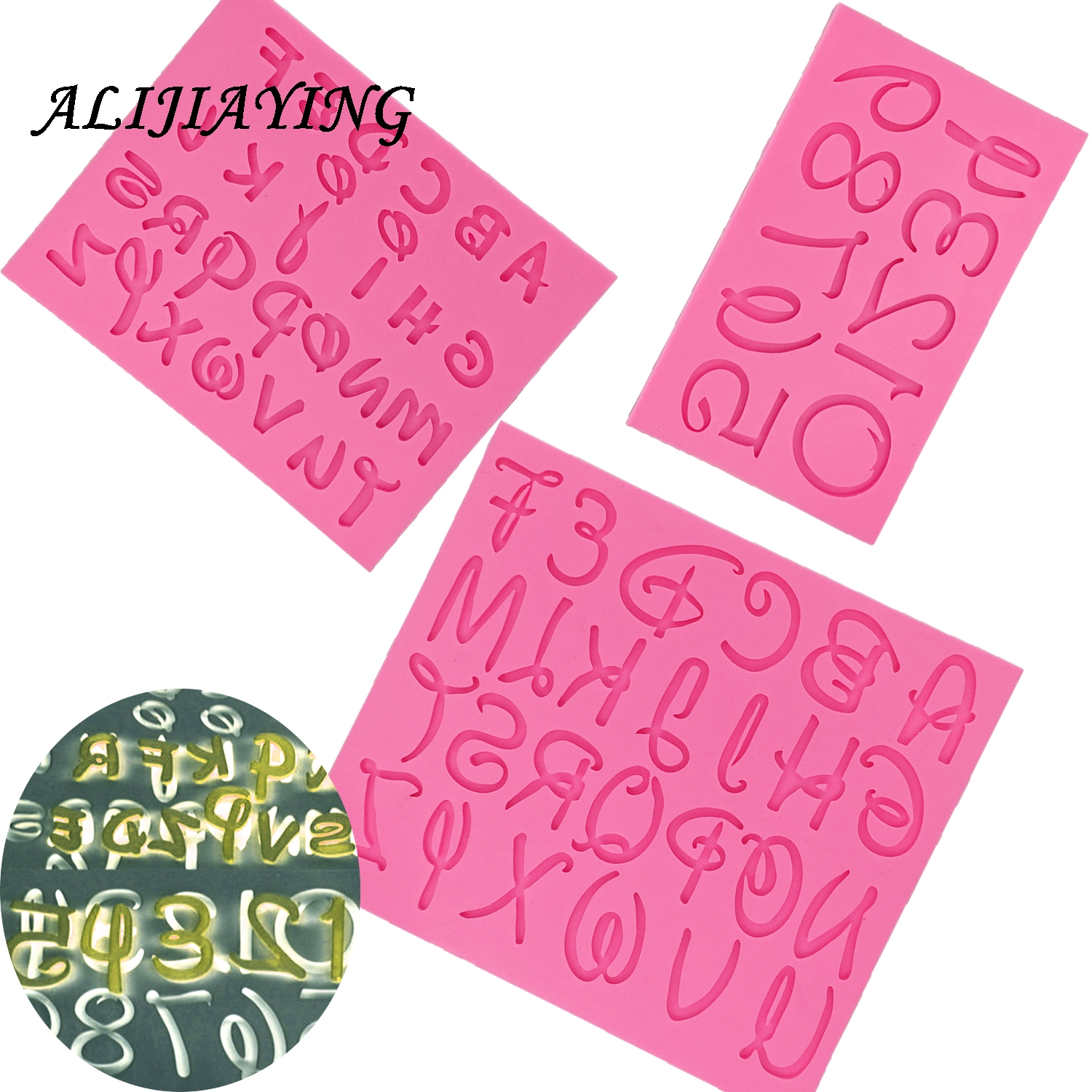 DIY <font><b>Letter</b></font> and number Silicone Mold Fondant digital <font><b>Cake</b></font> <font><b>Decorating</b></font> <font><b>Tools</b></font> dessert Sugarcraft Chocolate supply D1273 image