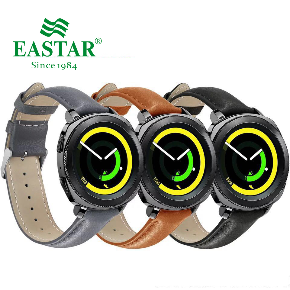 Eastar Leather Black Brown Strap For Samsung S4 Gear Sport Smart Watch Replacement Strap For Gear Watchband 20mm Watch Bracelet genuine leather watchband 20mm black brown replacement leather wristband for garmin vivomove apac strap