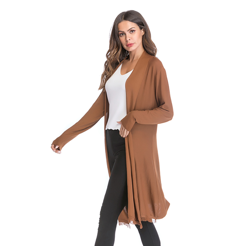 Kostlich 2018 Women Solid Color Tassel Long Knitted Cardigans Casual Open Stitch V Neck Full Sleeves Cardigans M-XL (6)
