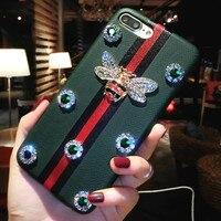 Miękkie Luksusowe Marki Case for Iphone X 6 6 S 7 8 Plus brokat Diament Bee Cienkie Slim Skrzynki Pokrywa Lady Kobiety Phone Case Powrót Protector