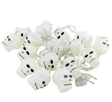 3.8m 16-leds Halloween Skull 3D Jack-O-Lantern LED Flashing String Light Festival Party Decoration Lamp 110V