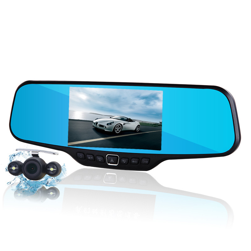 New 4 3 inch lcd car camera recorder full hd 1080p rearview mirror camera night vision