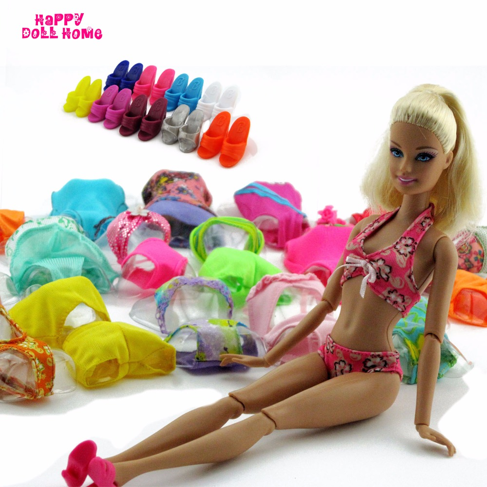 где купить Fashion Swimsuits Handmade Mix Styles Summer Swimming Bikini Swimwear Outfit Slippers Shoes For Barbie Doll Accessories Toy Gift дешево