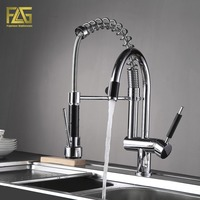 FLG Frühling Stil Küche Wasserhahn Hand Spray Chrom Cast Deck Montiert 3-Funktion Wasser Outlet Drehbare Küche Waschbecken Mixer 3763C