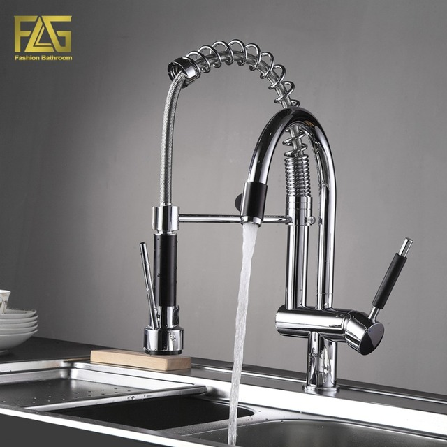FLG Spring Style Kitchen Faucet Hand Spray Chrome Cast Deck Mounted ...