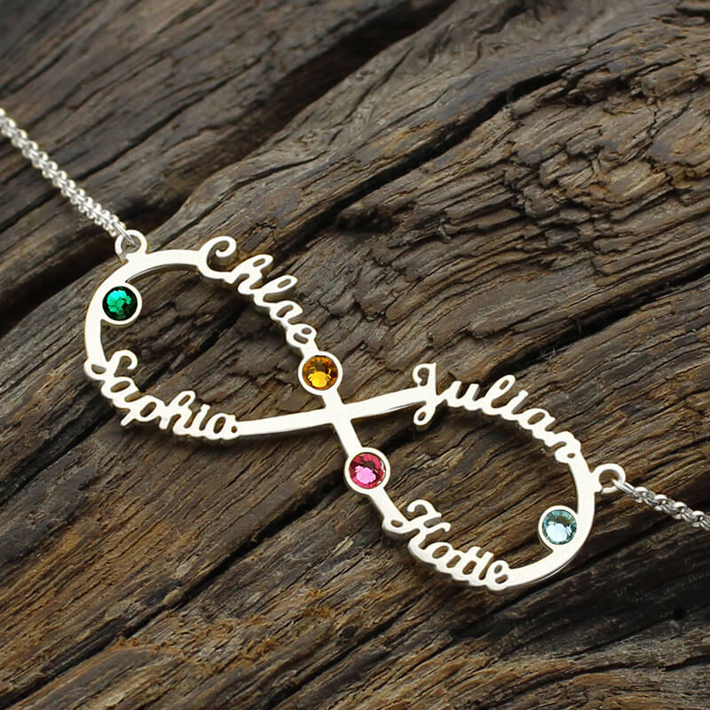 Silver infinity 4 names necklace with birthstones personalized silver infinity 4 names necklace with birthstones personalized infinity necklace mothers necklace birthstone jewelry in pendant necklaces from jewelry aloadofball Images