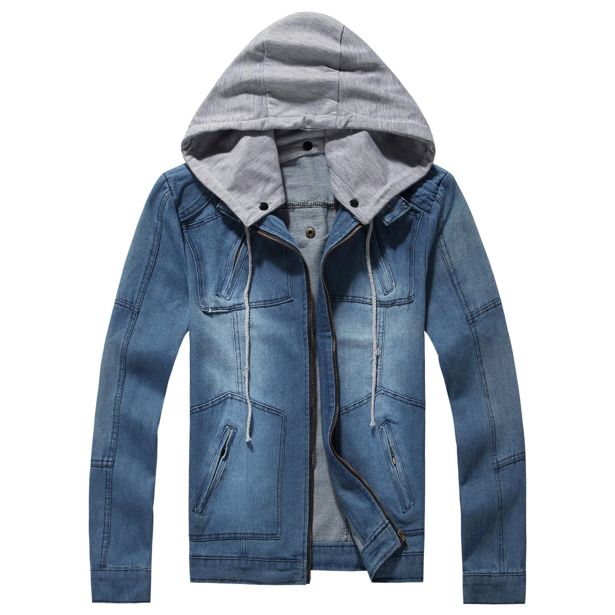 Men Autumn Hooded Denim jackets Casual Jean Coats Hat Detachable Denim Coats Large Size Men Blue Denim Jackets Size 5XL
