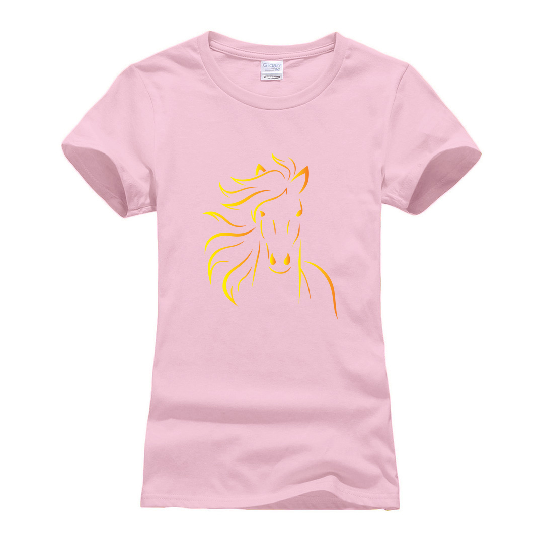 summer cotton fitness t-shirts woman 2019 cute Horse printed Brand clothes women New Fashion short sleeve round neck t shirt top