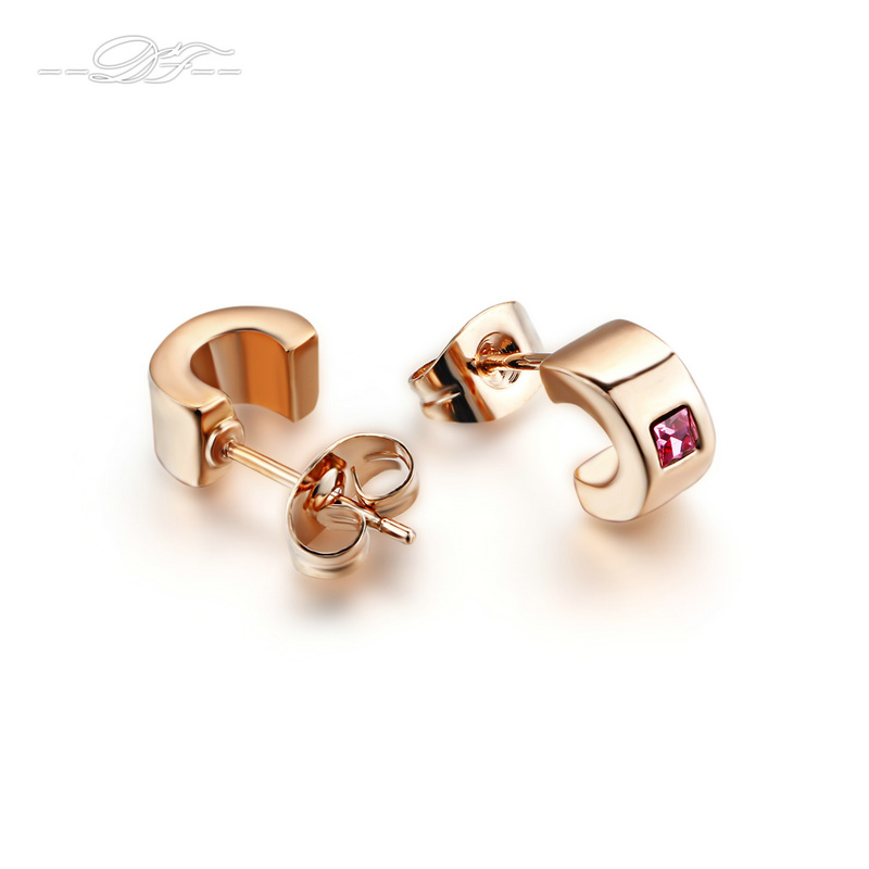 DFE198 Square Red Stone Stud Earrings Wholesale Rose Gold Color