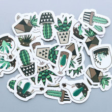 40 pcs/bag Green potted cactus paper sticker decoration diy scrapbooking Gift bag sticker children's favorite stationery(China)