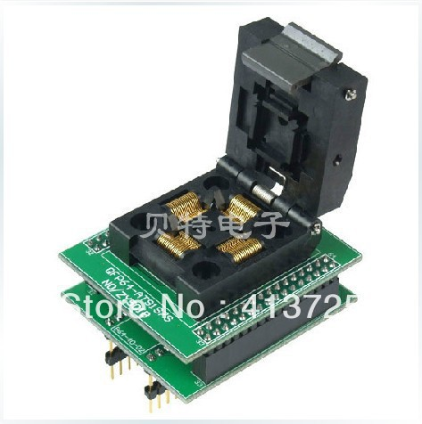 Block TQFP64 ucos dedicated IC programming, ZY501B test socket adapter burn original plcc44 to dip40 block adapter block cnv plcc mpu51 test convert burn