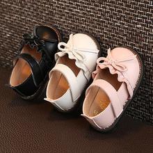 Детская кожаная обувь; сезон осень; Новинка; милая обувь с оборками и бантом для маленьких девочек; обувь для малышей с мягкой подошвой; тонкие туфли принцессы для малышей 0-1-3 лет