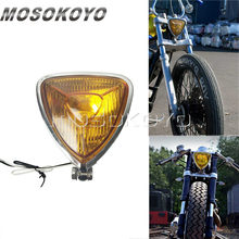 Black Motorcycle H3 12V 55W Triangle Headlight Cafe Racer Head Light for Harley Cruiser Scrambler(China)