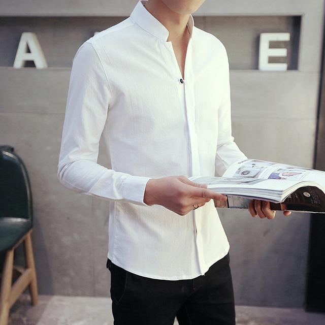 La primavera y el otoño de los hombres camisa de vestir de cuello blanco joven de la camisa Coreano delgado Hombre Camisa de Manga Larga