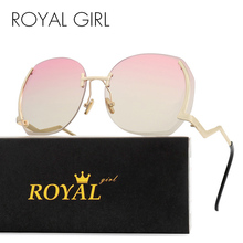 Royal Girl Unique Rimless Women Sunglasses Oval Oversized Cutting Lens Gradient Clear ss144