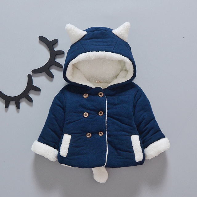 baby winter coat 2016 new autumn girls baby coat thick warm newborn hooded jacket cat style infantil clothes lovely toddler coat