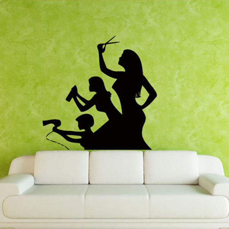 Hair Salon Sticker Beauty Scissors Decal Haircut Name Posters Vinyl Wall Art Decals Decor Decoration Mural