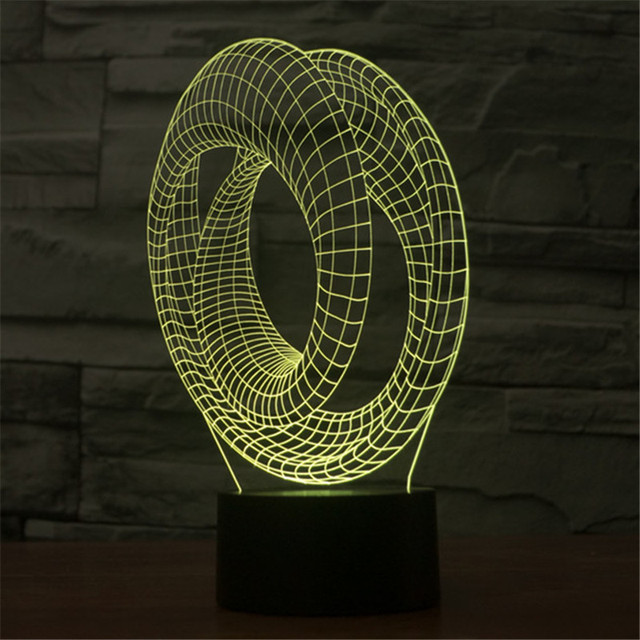Colorido Mudança 3D Architectural LED Lamp Decoração Night Light Quarto das Crianças 3D-TD38