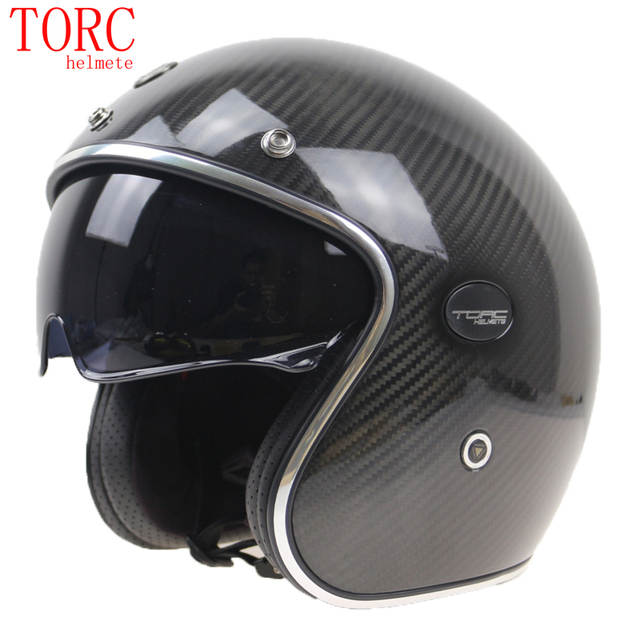 Carbon Fiber Motorcycle Helmets >> Us 159 99 Torc Carbon Fiber Motorcycle Helmet Professional Light Weight Open Face Helmet With Internal Sunglasses And Classic 3 4 Helmet In Helmets