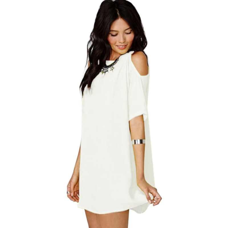 Plus ขนาด 3XL สีขาวชุดลำลองชุดหลวม Off - ไหล่ O สั้นคอสั้นแขนสั้นชีฟองขายชุดเซ็กซี่ vestidos