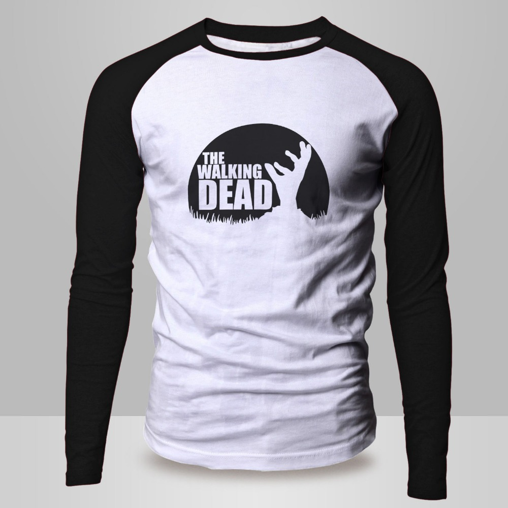 Design t shirt baseball - New Arrival Men S Long Sleeve T Shirt The Walking Dead Design Fashion Style Baseball Raglan Top