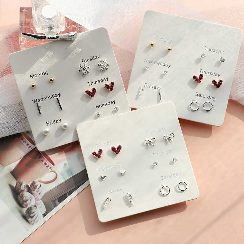 SHUANGR Fashion 6 Pairs/set Stud Earrings for Women Korea Style Stars Heart Crytal Cute Earrings Jewelry Boucle D'oreille
