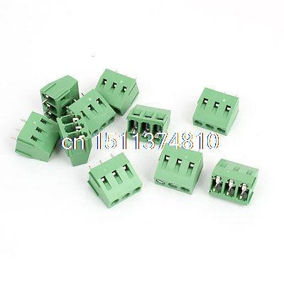 300V 10A 3 Way Pin 5mm Pitch PCB Mounted Screw Terminal Block Green 10Pcs 20 pcs 126 3p 3pin 5mm pitch screw terminal block 300v 10a
