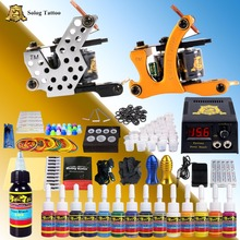 цена на 2018 New Fashion Solong Tattoo Starter Complete Tattoo Kit 2 Machine Guns Set 14 Inks Power Supply Grips Needles Tips