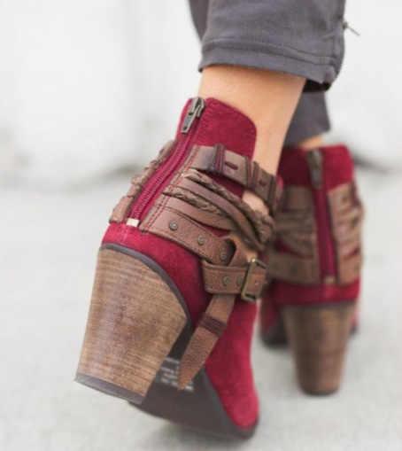KARINLUNA 2019 İlkbahar Sonbahar Kadınlar Retro Çizmeler Kayış Dekorasyon 8 cm Yüksek Kare Topuklu Vintage yarım çizmeler kadın ayakkabısı Kadın