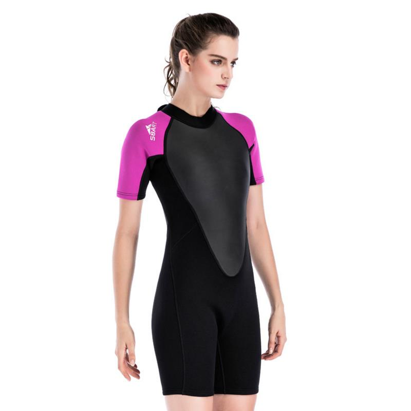SBART New 2 MM Neoprene Elastic Women Diving Suit Female Warm Surf Short Sleeve Clothes One Piece Wetsuit Free Shipping