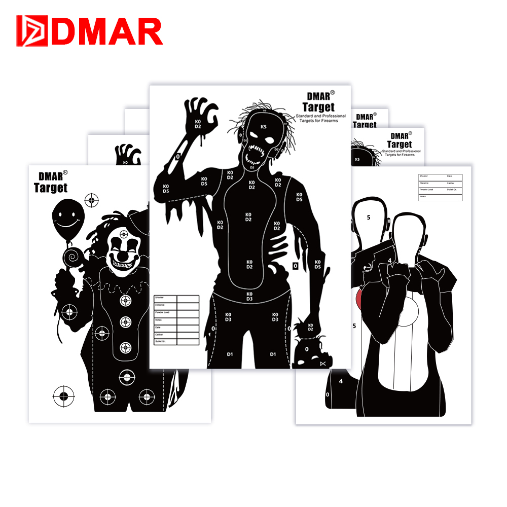 DMAR 20pcs 42cm 17 Shooting Targets Paper Silhouette Tactical Training Targets Range for Shooting Airsoft Outdoor Indoor Range