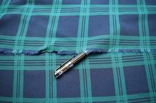 Customized 145cm width blue green Elastic lattice tartan satin Chiffon silk Cloth Fabric Shirt coat skirt