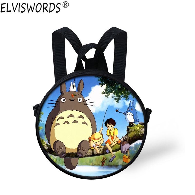 ELVISWORDS Totoro Backpack Bag Custom Mini 3d Round Bags Shoulder Backpack for Children Mochila Best Gifts Kindergarten Bookbag