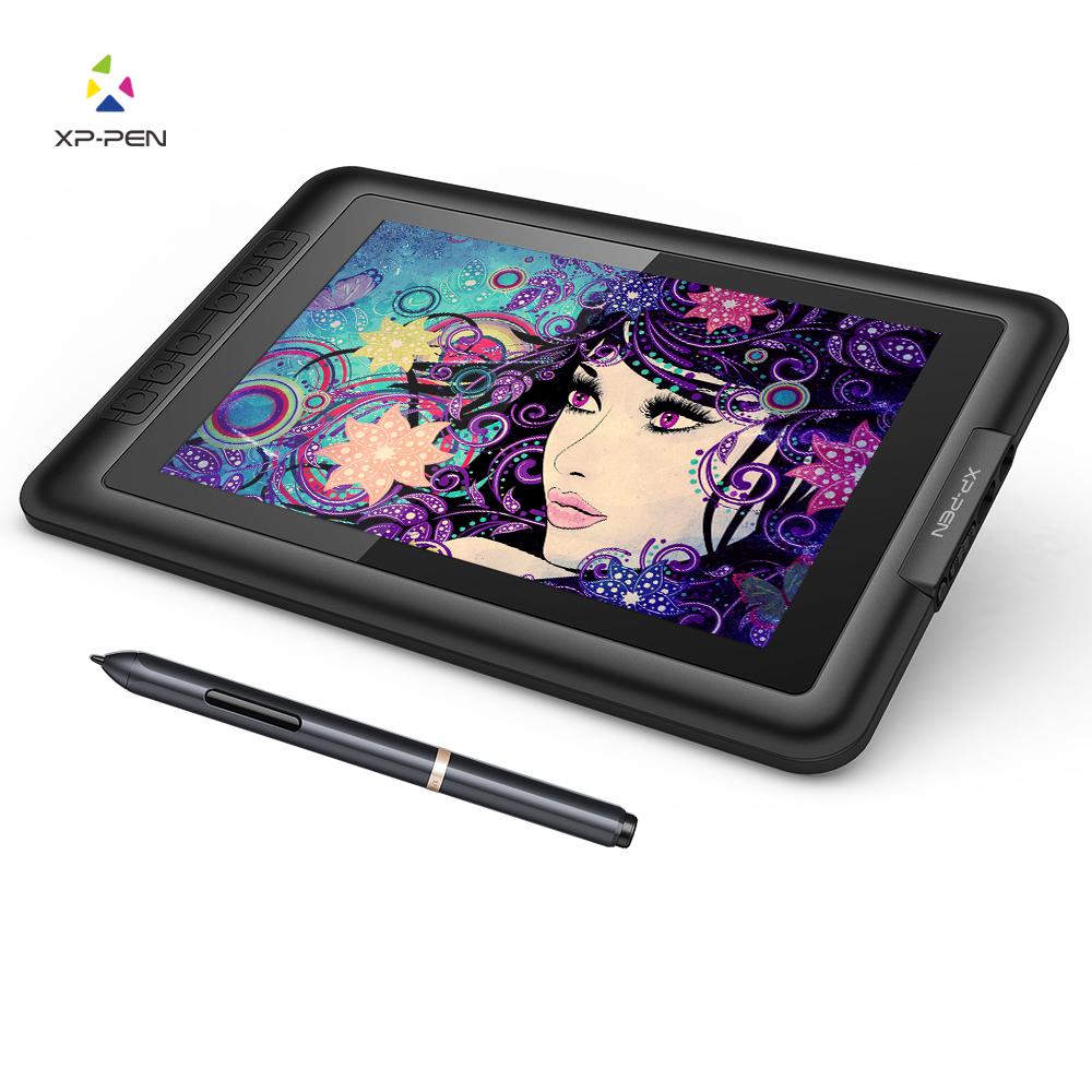 XP-Pen Artist10S Tegningstablet Graphics Monitor Tablet Pen Display med Clean Kit og Tegning Glove (Black)