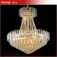 Best Price Royal Empire Golden Crystal Chandeliers Duplex Stairs Light LED K9 Crystal Lamp D600mm X