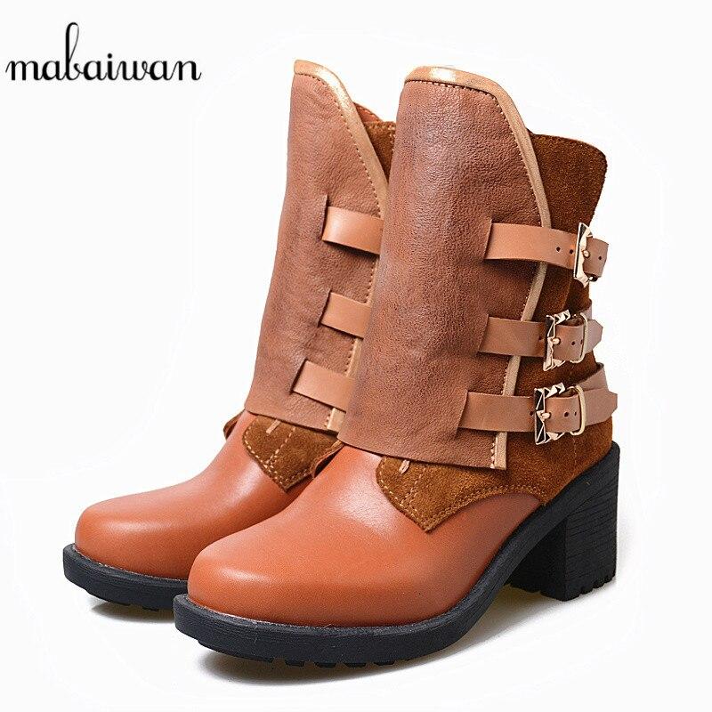 Mabaiwan Moda Fibbia Delle Donne di Spessore Tacco Alto Stivali Alla Caviglia Autunno Inverno Zip Marrone Genuino Scarpe di Cuoio della Donna Pompe Stivaletti