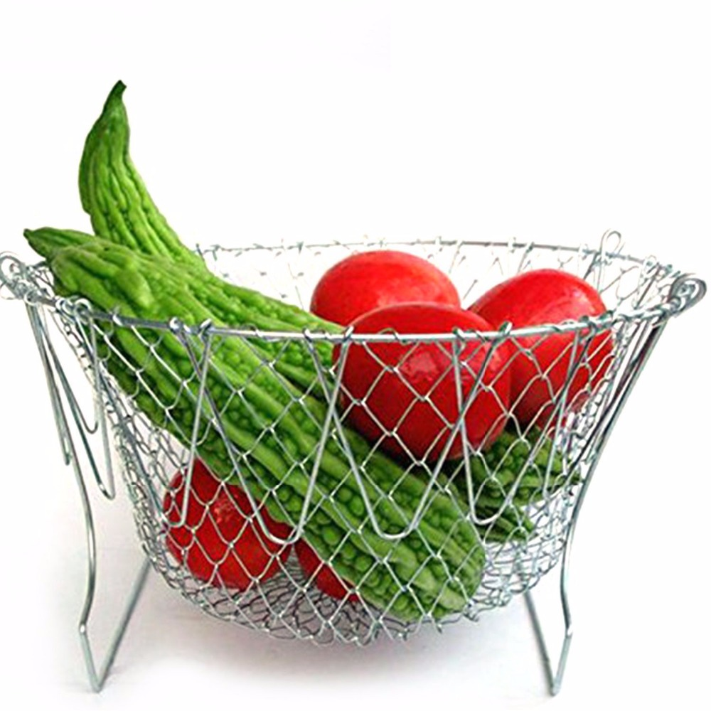 Fry french chef basket foldable steam rinse strain magic stainless steel strainer net basket for kitchen cooking gift-4