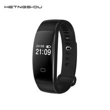 Hetngsyou зарядка через USB Smart Браслет Heart Rate Мониторы шагомер Водонепроницаемый анти-потерянный часы Спорт браслет для iOS и Android