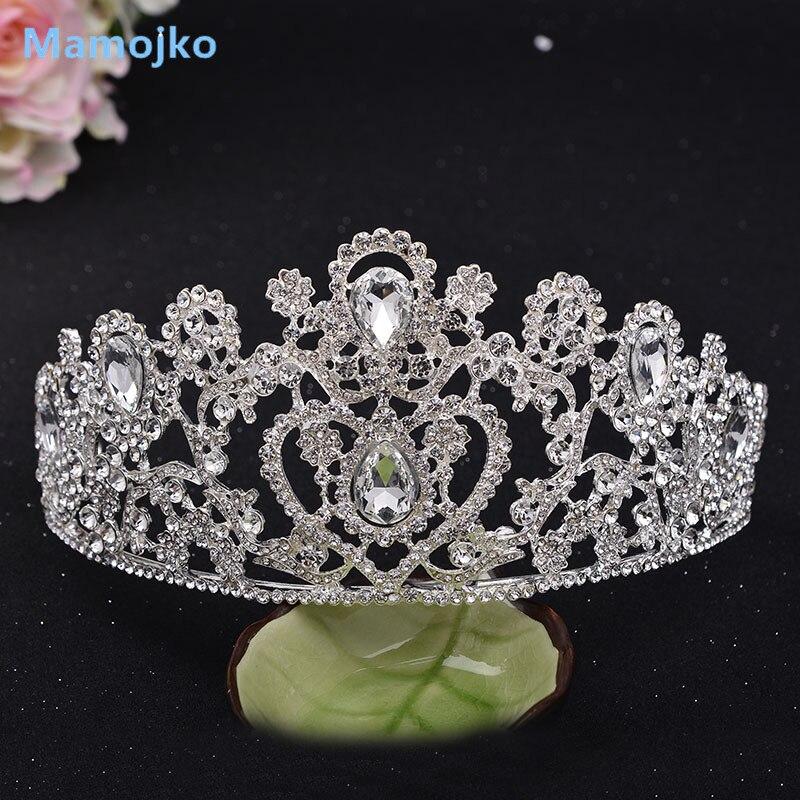 Mamojko Bridal Tiara Rhinestone Crystal Queen Crown Fashion Big Diadem for Women Wedding Dress Hair jewelry Accessories