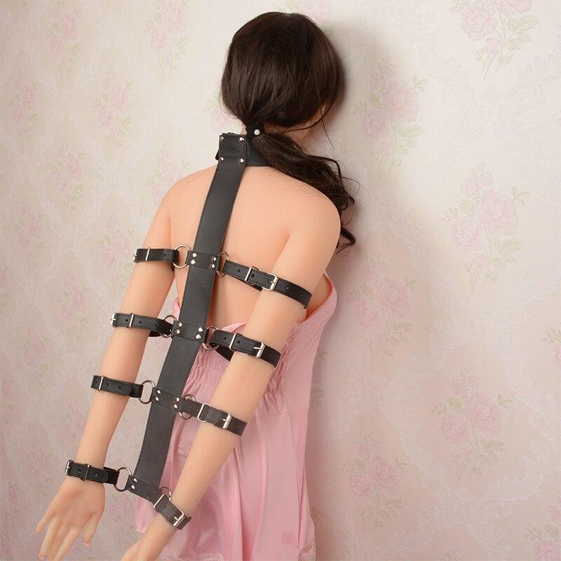 Slave Fetish SM Adult Bondage Kit Sex Toys For Couple Neck Collar To Hand Restraint Wrist Cuffs Sex PU Leather Arm Bondage