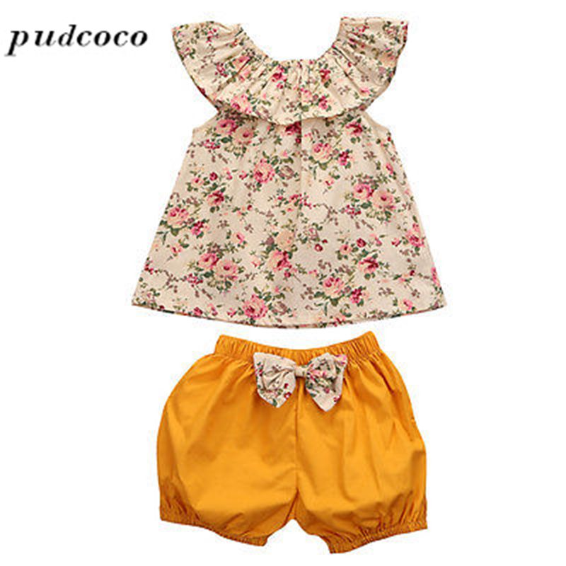 Floral Tops Vest Ruffle Falbala + short Pants Trousers Hot Sale 2PCS Toddler Kids Baby Girls Outfit Clothes Cute infant toddler kids baby girls summer outfit cotton striped sleeveless tops dress floral short pants girls clothes sunsuit 0 4y