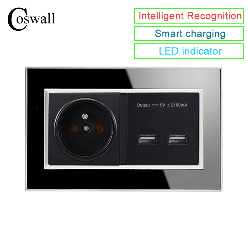 Coswall Black 146 Type 16A French Socket Power Outlet Dual USB Charge Port 2.1A Wall Charger Adapter LED Indicator Acrylic PanelCoswall Black 146 Type 16A French Socket Power Outlet Dual USB Charge Port 2.1A Wall Charger Adapter LED Indicator Acrylic Panel