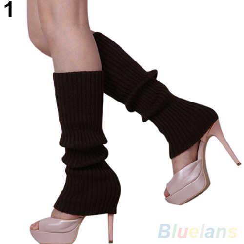 Sıcak Moda Bayan Kadın Düz Renk Örgü Kış Bacak Isıtıcıları Diz Yüksek Çizme Çorap Tayt 7FQX