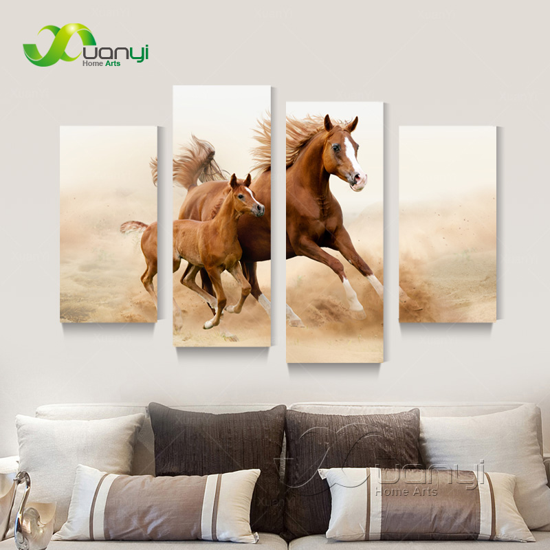 4 Panel Horse Canvas Oil Painting Art Cuadros Home Decoration Rhaliexpress: Horse Paintings For Living Room At Home Improvement Advice