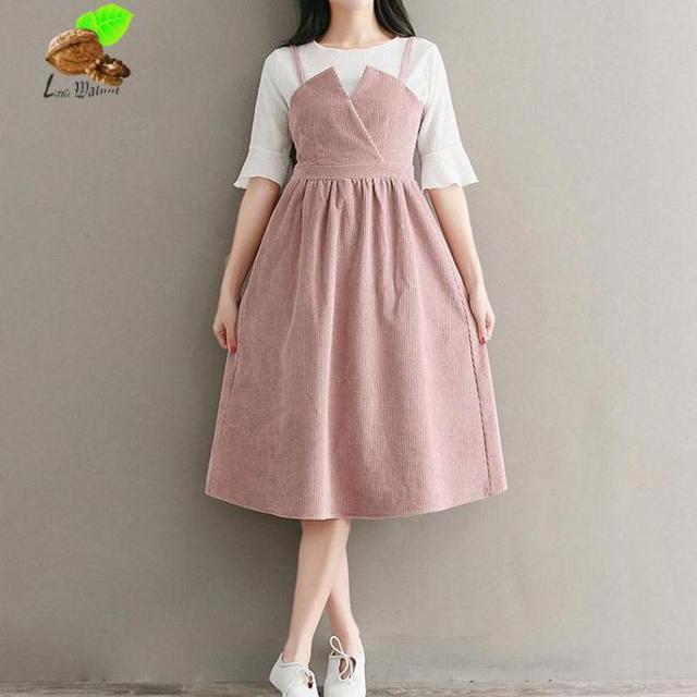 Women Sweet Solid Color Sleeveless Spaghetti Strap Corduroy Vintage Spring Dresses Mori S Pink Dress Female