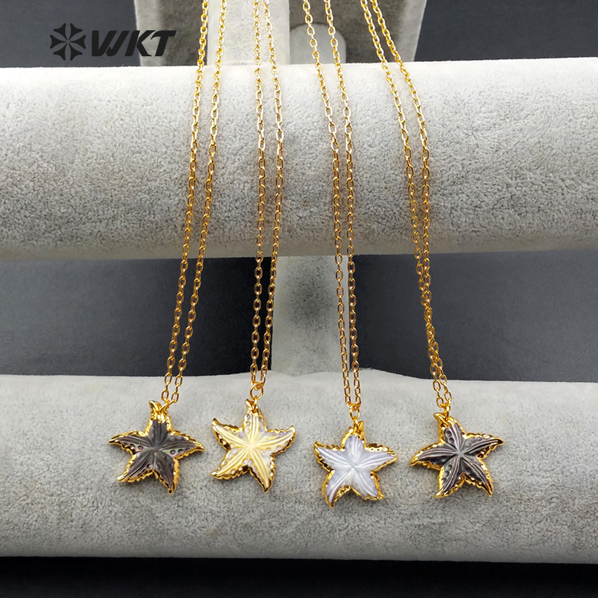 WT N993 Wholesale fashion jewelry natural sea shell necklace High quality star shape shell with 24k