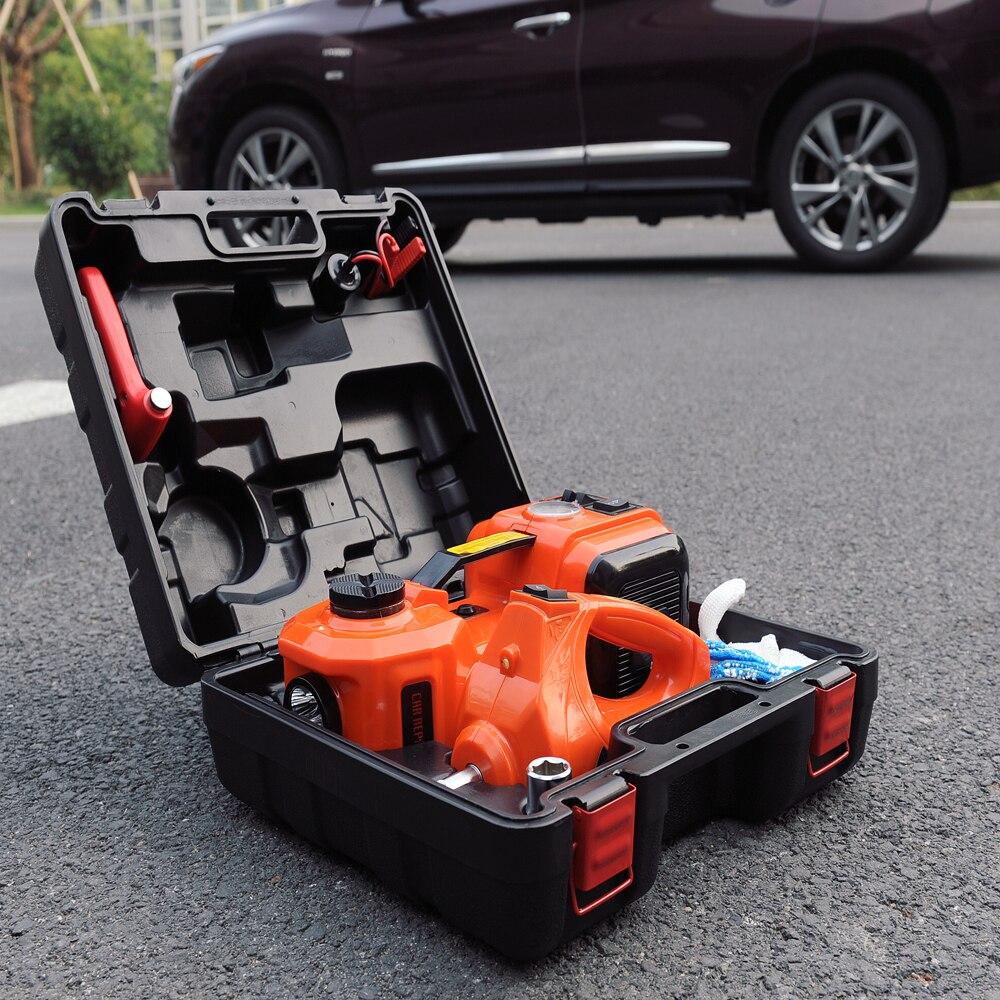Livraison gratuite auto d'urgence outil kit électrique hydraulique jack avec clé et gonfler pompe
