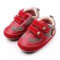 Gancho y Bucle TPR Suela Dura de Cuero de alta Calidad Y algodón Niño Del Muchacho Del Bebé Zapatos Primero Que Caminan Zapatos 0-15 meses