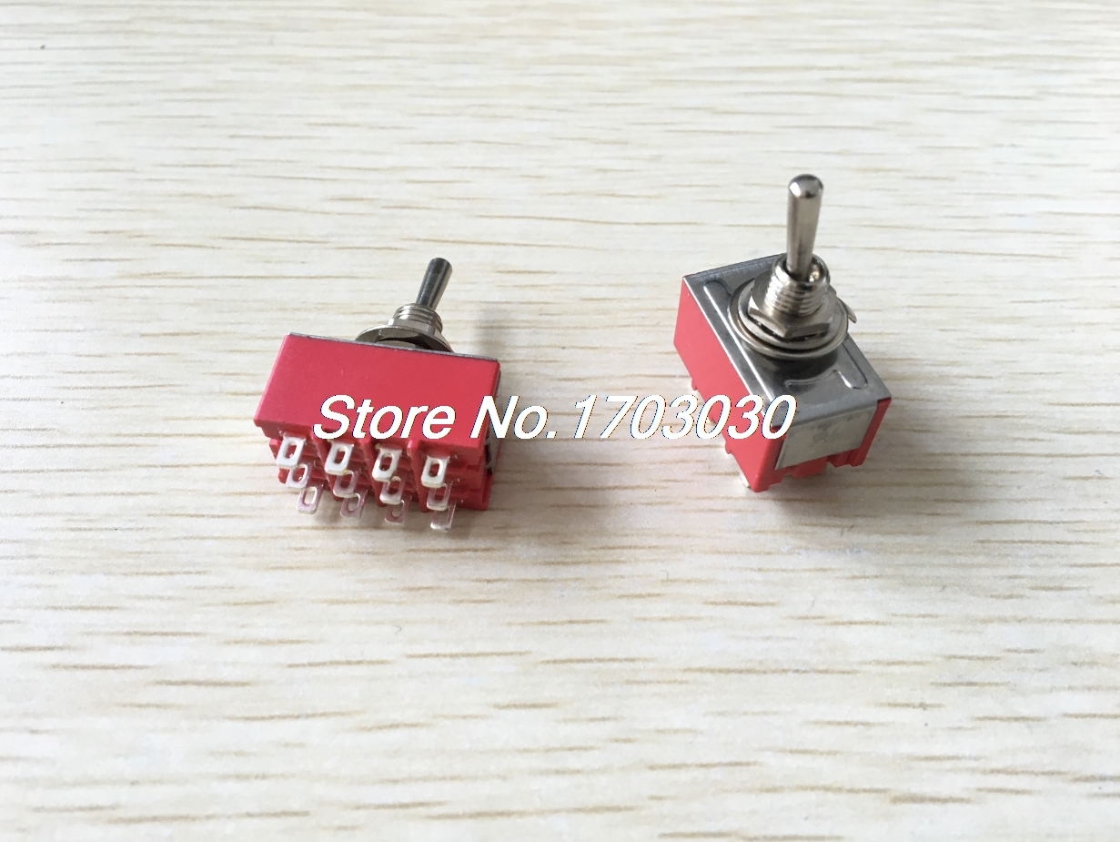 цена на 2pcs AC 250V 2A 125V 6A ON/OFF/ON 3 Position 4P2T 4PDT 12 Pins Toggle Switch
